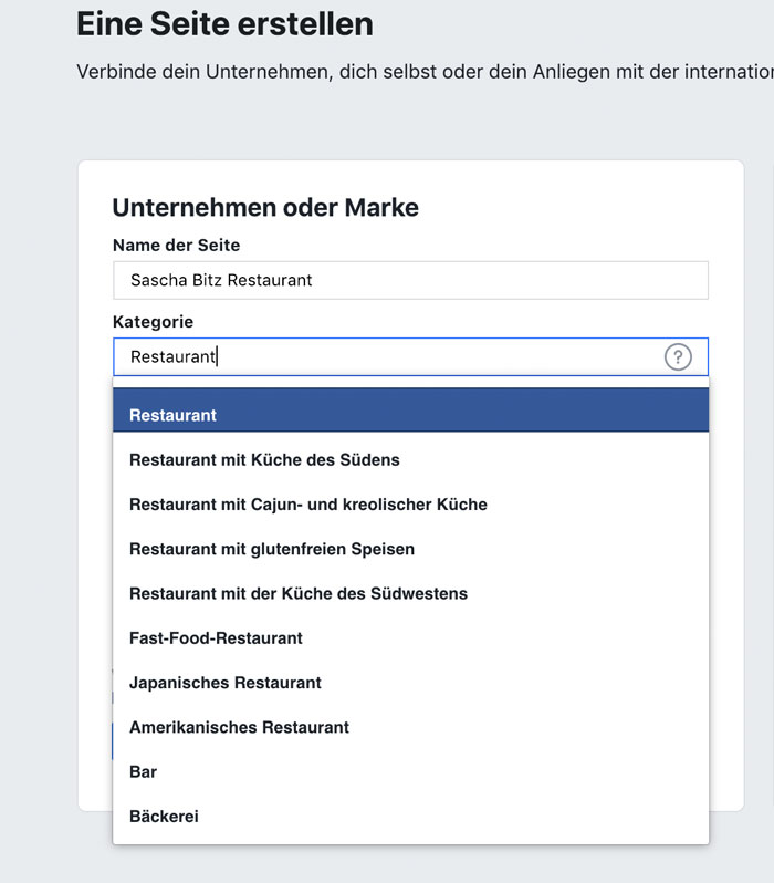 facebook firmenseite erstellen kategorie