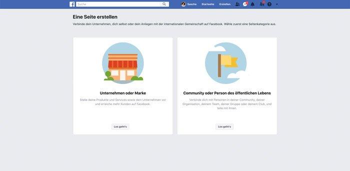 Facebook Firmenseite erstellen unternehmensart